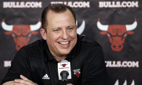 Chicago Bulls head coach Tom Thibodeau answers questions about his new contract during media day for their upcoming NBA basketball season in