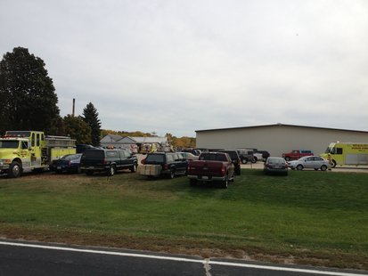 Fire crews respond to a report of a structure fire at Ongna Wood Products near Gibbsville