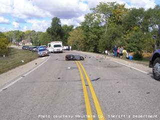Fatal crash in Waushara County on Thursday September 27, 2012.