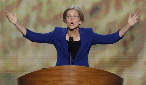 Massachusetts U.S. Senate candidate Elizabeth Warren addresses delegates during the second session of the Democratic National Convention in