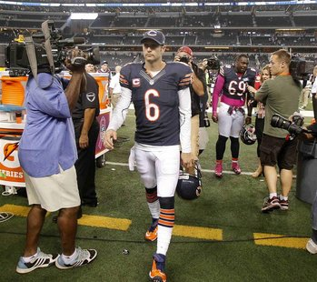 Chicago Bears quarterback Jay Cutler leaves the field after their victory against the Dallas Cowboys following their NFL football game in Ar