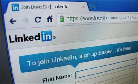 The sign up page of Linkedin.com is seen in Singapore, May 20, 2011. LinkedIn Corp's shares more than doubled in their public trading debut