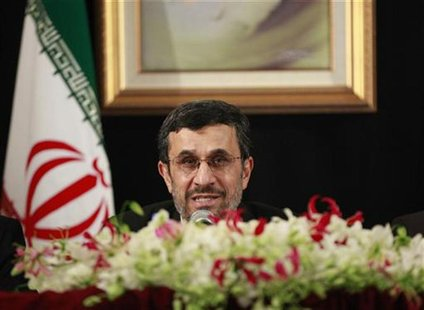 Iranian President Mahmoud Ahmadinejad speaks during a media conference on the sidelines of the 67th United Nations General Assembly in New Y