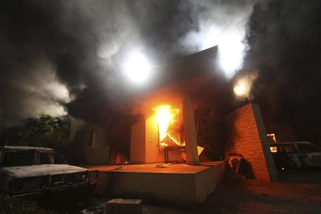 The U.S. Consulate in Benghazi is seen in flames during a protest by an armed group in this file photo taken September 11, 2012. REUTERS/Esa