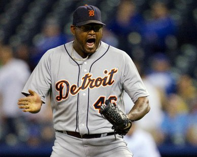 Detroit Tigers RHP Jose Valverde shouts for joy after recording the final out in a 6-3 victory at Kansas City on Oct. 1, 2012, clinching the American League Central title for the Bengals. (photo courtesy Detroit Tigers)