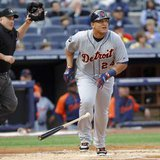 Tigers 3B Miguel Cabrera, who hit his AL-leading 44th home run Monday night against Kansas City, as Detroit clinched the AL Central title with a 6-2 win over the Royals. (REUTERS)