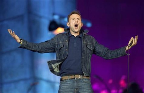 Damon Albarn from British band Blur performs as part of the London 2012 Olympic Games closing celebrations at Hyde Park, London, August 12,