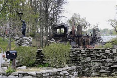 The home of late country icons Johnny Cash and June Carter Cash is pictured on April 11, 2007, one day after it was gutted by fire, in Hende