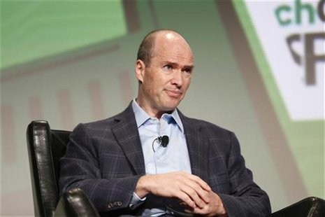 Venture capitalist Ben Horowitz of Andreessen Horowitz speaks on stage during a fireside chat with moderator Bill Campbell, chairman of the