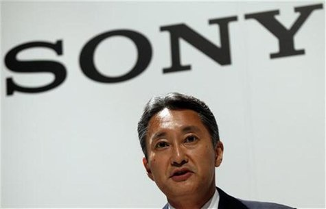 Sony Corp's President and Chief Executive Officer Kazuo Hirai speaks during a joint news conference with Olympus Corp's President Hiroyuki S