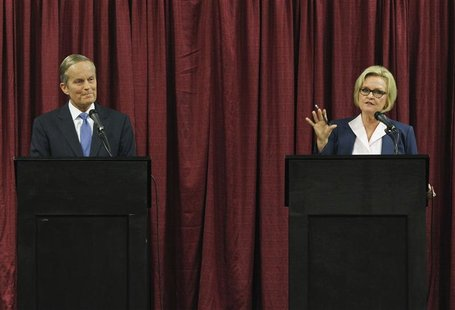U.S. Senate candidates for Missouri Todd Akin (R) and Senator Claire McCaskill debate in Columbia, Missouri, September 21, 2012. REUTERS/Sar
