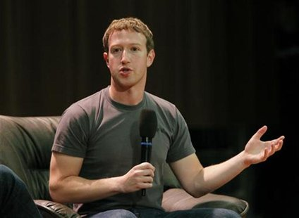 Facebook Chief Executive Mark Zuckerberg gestures as he addresses students at the Moscow State University in Moscow October 2, 2012. REUTERS