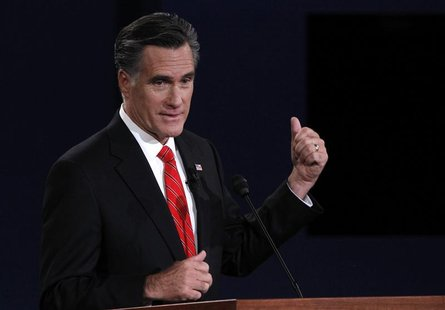 Republican presidential nominee Mitt Romney speaks during the first presidential debate with President Barack Obama (not pictured) in Denver