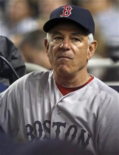 Boston Red Sox manager Bobby Valentine looks on from the dugout against the New York Yankees during the fifth inning of their MLB American L