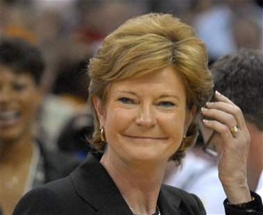 Former University of Tennessee Lady Volunteers head coach Pat Summitt reacts after her team defeated Rutgers University Scarlet Knights in t