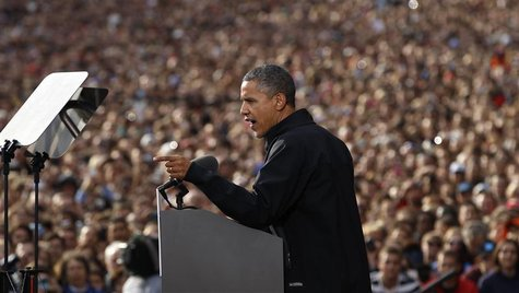 U.S. President Barack Obama speaks to an estimated crowd of 30,000 at a campaign rally at the University of Wisconsin in Madison, Wisconsin