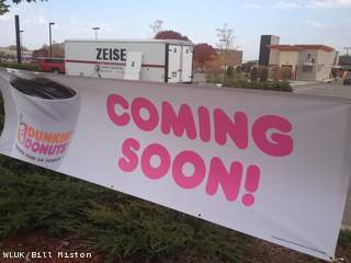 A sign advertises the future Dunkin' Donuts shop in the town of Buchanan, Oct. 4, 2012. (courtesy of FOX 11).