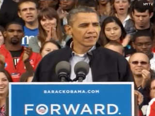 President Barack Obama speaks at a campaign rally on the University of Wisconsin-Madison campus, Oct. 4, 2012. (courtesy of WMTV)