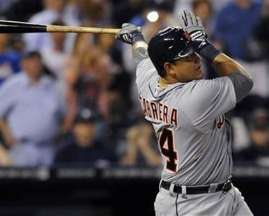 Detroit Tigers' 3B Miguel Cabrera fouls out on his first at-bat against the Kansas City Royals in the first inning in their MLB American League baseball game in Kansas City, Missouri October 3, 2012.  REUTERS/Dave Kaup