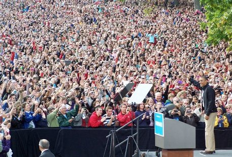 Barack Obama at a rally on the UW-Madison campus (photo: Wisconsin Radio Network)