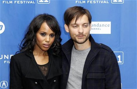 "Cast members Tobey Maguire and Kerry Washington arrive for the premiere of ""The Details"" during the Sundance Film Festival in Park City, Uta"