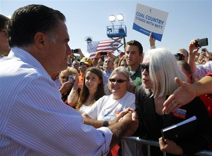 Republican presidential nominee Mitt Romney greets audience members at a campaign rally in Abingdon, Virginia October 5, 2012. REUTERS/Brian