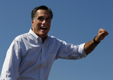Republican presidential nominee Mitt Romney waves to the crowd at a campaign rally in Abingdon, Virginia October 5, 2012. REUTERS/Brian Snyd