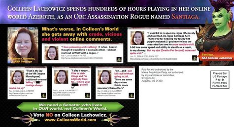 A mailer distributed by the Republican party which attacks Democratic state senate candidate Colleen Lachowicz for playing online games is s