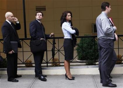 People wait in line to enter a job fair in New York August 15, 2011.  Credit: REUTERS/Shannon Stapleton