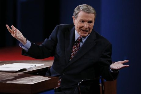 Moderator Jim Lehrer speaks to the audience at the start of the first presidential debate between President Barack Obama and Republican pres