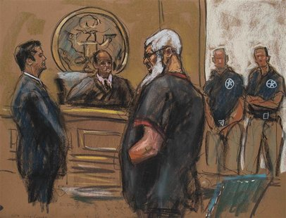Islamist cleric Abu Hamza al-Masri is seen in this courtroom sketch during a court appearance in Manhattan Federal Court in New York October