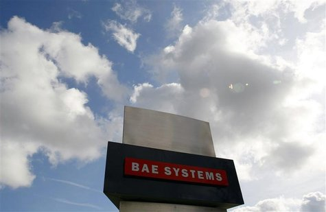 A BAE Systems sign is seen outside the company's Warton site near Preston, northern England, in this file picture taken October 1, 2009. REU