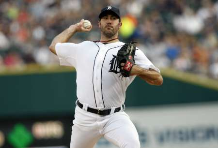 Tigers starting pitcher Justin Verlander, who struck out 11 Oakland batters in a 3-1 Detroit win on Saturday, October 6, 2012, at Comerica Park.