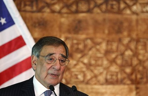 U.S. Secretary of Defense Leon Panetta speaks next to New Zealand's Minister of Defence Jonathan Coleman (not pictured) as they hold a joint