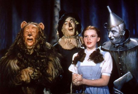 "The main cast of the classic film ""The Wizard of Oz"" are shown in this undated publicity photograph. Shown (L-R) are the Cowardly Lion playe"
