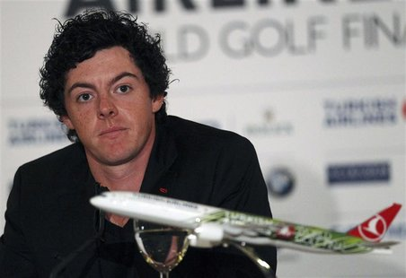 Northern Ireland's Rory McIlroy attends a news conference a day before the start of the Turkish Airlines World Golf Final in Antalya, southe