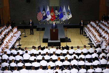 Republican presidential nominee Mitt Romney delivers his foreign policy speech at the Virginia Military Institute in Lexington, Virginia Oct