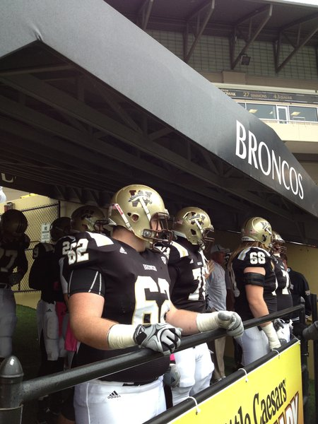 The Broncos prepare to take the field against UMASS, Saturday 10/6/2012 at Waldo Stadium