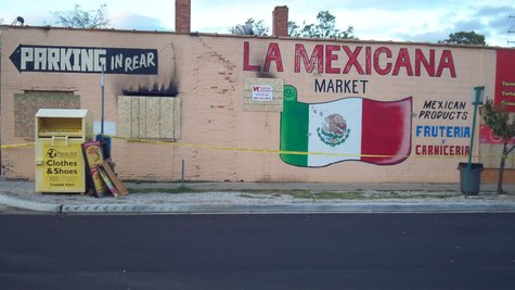 Front of the La Mexicana Market after the fire.