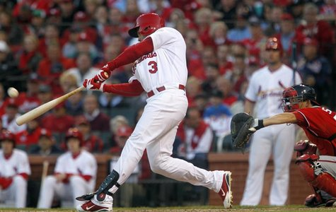 St. Louis Cardinals' Carlos Beltran hits a homerun in the sixth inning against the Washington Nationals during Game 2 of their MLB NLDS play