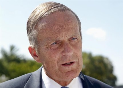 U.S. Senate candidate Todd Akin speaks to the media after a rally outside the Missouri Capitol with the New Women's Group in Jefferson City,