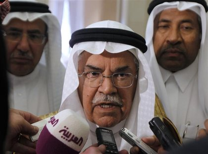 Saudi Oil Minister Ali al-Naimi speaks to media on his arrives for the Gulf Cooperation Council (GCC) Oil Ministers' meeting in Riyadh Octob