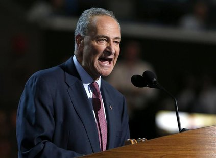 U.S. Senator Charles Schumer (D-NY) addresses the second session of the Democratic National Convention in Charlotte, North Carolina Septembe