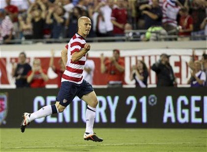 Michael Bradley of the U.S. celebrates after scoring against Scotland during their international friendly soccer match in Jacksonville, Flor
