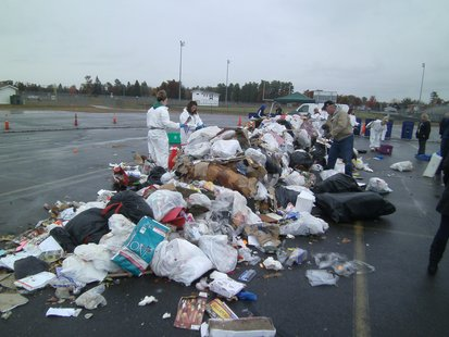 6020 pounds of Mosinee trash, or about 1/4 of one truckload, used 10/9/12 to sort and show how many recyclable items are not being recycled... and ending up in the landfill where they don't belong.