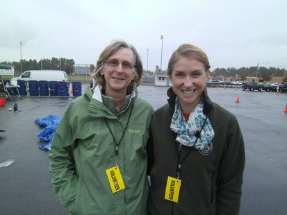 DNR representatives Cynthia Moore (left) and Anna McCabe (right) who joined the effort to sort recyclables from garbage during a Mosinee demonstration 10/9/12