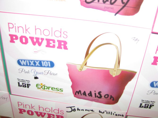 Stop in at participating Express Convenience Center in Northeast Wisconsin in October, donate $1 to the LeRoy Butler Foundation to help women going through breast cancer treatment, then tell everyone about it by placing one of these cards on the wall.  You could also win a BONUS purse in WIXX's Pick Your Purse contest.