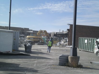 Demolition continues on a portion of Centerpoint Marketplace in Stevens Point, between Shopko on the left and the former Dunham's building.