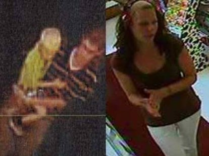 Security camera video of suspects wanted for passing fake $100 bills.
