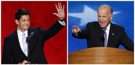 Vice President Joe Biden (R) speaking in Charlotte, North Carolina September 6, 2012, and Republican vice-presidential nominee Paul Ryan, sp